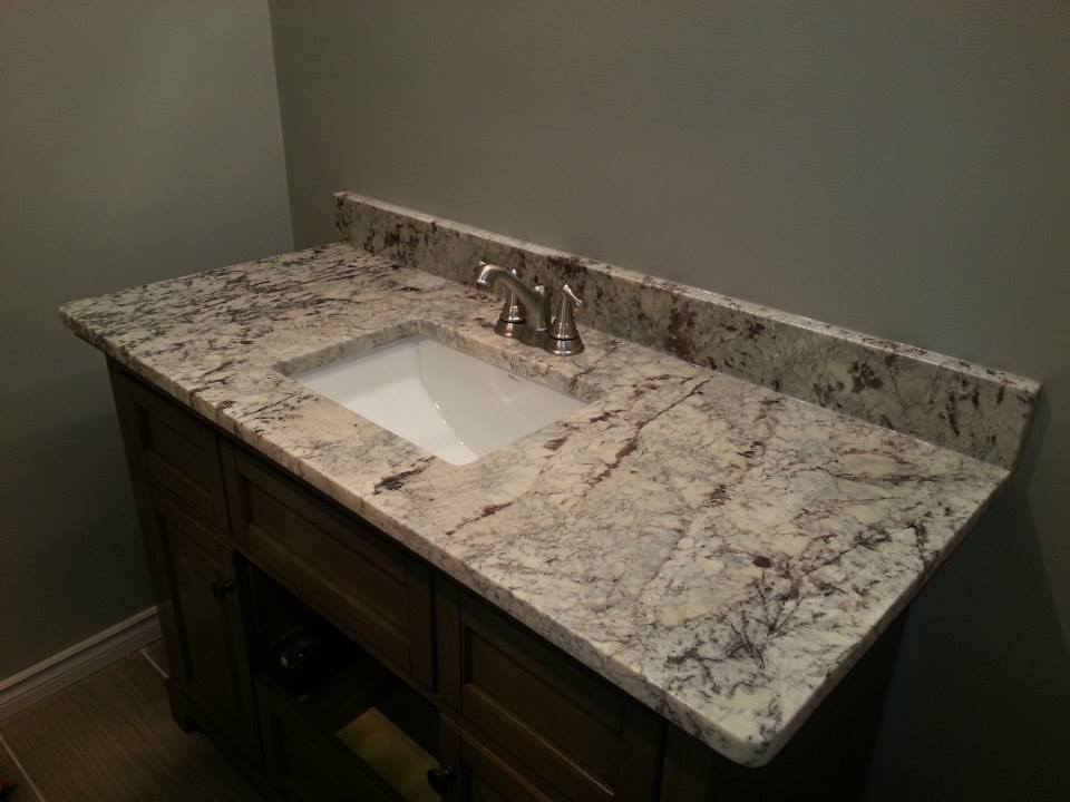 Bathroom countertops edmonton stoneworks granite quartz for Bathroom countertops