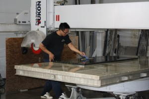 Our team working on a large countertop