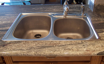 top mounted kitchen sinks undermount vs topmount sinks stoneworks granite 6301