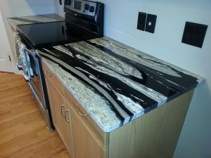 black and white kitchen granite countertop